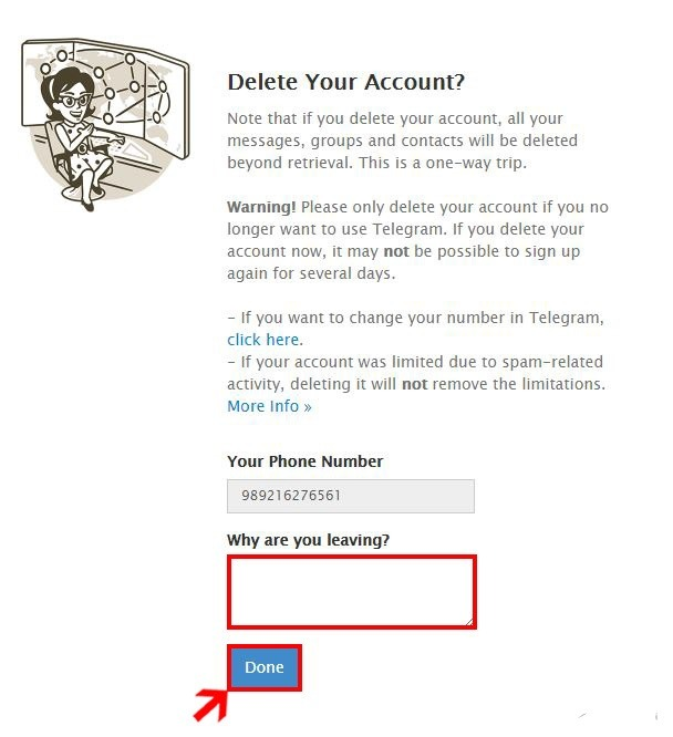 حذف اکانت تلگرام, دلیت اکانت تلگرام