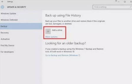پشتیبان گیری از داده ها, فایلهای سیستمی,استفاده از File History در ویندوز 10,File History