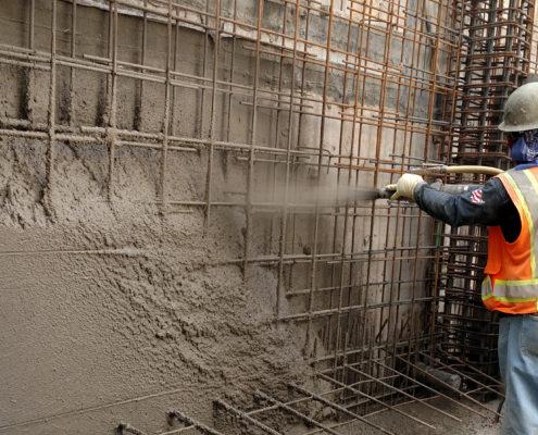 روش سیمان پاشی به دیوارهای بلند